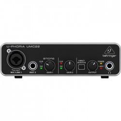 Behringer - UMC22 2x2 Ev Stüdyosu için Midas Mikrofon PreAmfi Ses Kartı