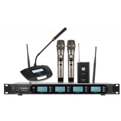 Doppler - DMT-4100 Set Çift Anten Çift El Tek Yaka Tek Meeting Telsiz Mikrofon