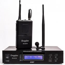 Doppler - DM-200B Tek Yaka Telsiz Mikrofon Çift Anten 16 Kanal Dijital