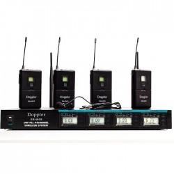 Doppler - DM-404B 4lü Yaka Telsiz Mikrofon Çift Anten 9x8 Kanal Dijital