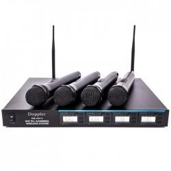 Doppler - DM-404H 4lü El Telsiz Mikrofon Çift Anten 9x8 Kanal Dijital