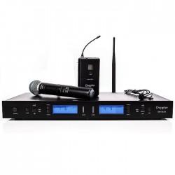 Doppler - DM-502HB Tek El - Tek Yaka Telsiz Mikrofon Çift Anten 6x16 Kanal Dijital