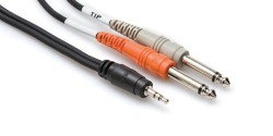 HOSA - 3.5 mm. TRS (M) <-> Dual 1/4'' TS (M) Stereo Breakout kablo, 90 cm (erkek) CMP-153