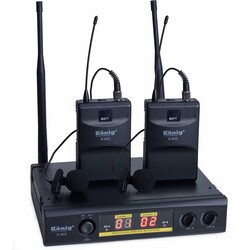 König - K-402 Çiftli Yaka Tipi Kablosuz Mikrofon
