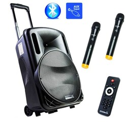 Osawa - OSW-9130 Portatif Seyyar Çift El Telsiz Mikrofonlu Ses Sistemi 125 Watt